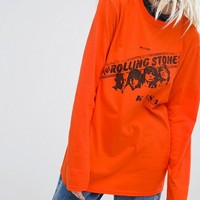 Reclaimed Vintage Inspired Long Sleeve Top With Rolling Stones Tour Print at asos.com