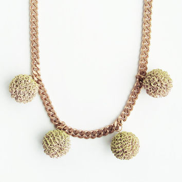 light pink, moss green graffiti ball and copper chain necklace. mossy. flora collection.