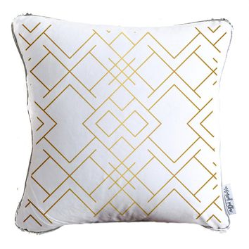 Gold Geometric Lines Pattern Decorative Throw Pillow w/ Reversible Gold and White Sequins - COVER ONLY (Inserts Sold Separately)