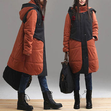 Brick red stitching round neck long-sleeved hooded coat / winter loose stitching Overcoats
