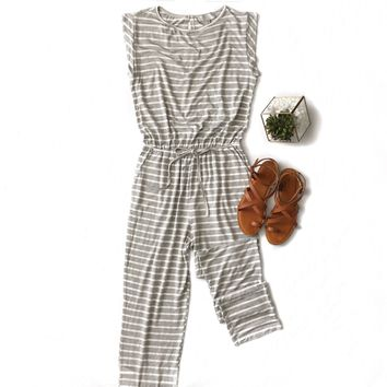 Gray Striped Jumpsuit