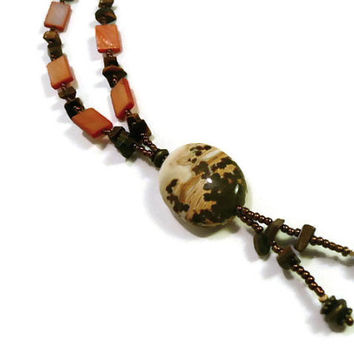 Jasper Pendant Necklace, y necklace, fall color jewelry, Tiger's eye necklace, shell necklace, bronze antique gold necklace, Jasper necklace