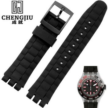21mm Rubber Watch Strap For Swatch Watch SCUBA LIBRE suuk400 suuw100 Men's Rubber Strong Flexibility Wantch Band With Buckle