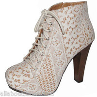 Lace Up Booties Ivory White Lace Fabric Fashion Boots Side Zipper Women's Shoes