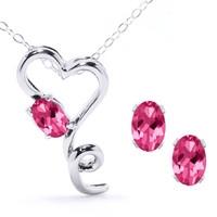 "2.45 Ct Mystic Pink Topaz Heart Pendant Earrings 925 Silver Set with 18"" Chain"