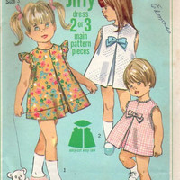 Simplicity 6950 Sewing Pattern 60s Retro Vintage Girls Party Dress Sleeveless Toddler Inverted Front Pleat Easy to Sew Size 3