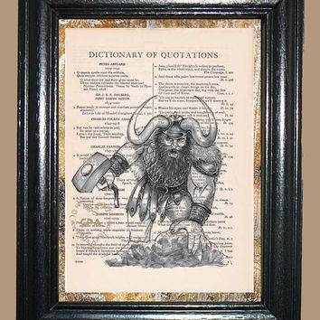 Viking Warrior Illustration - Vintage Dictionary Page Book Art Print Upcycled Page Art Collage Art Viking Print