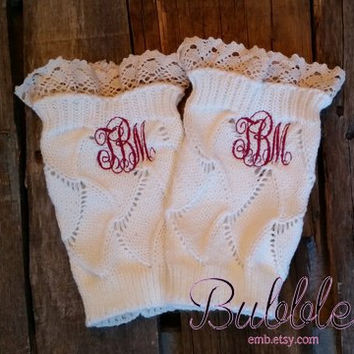 Monogrammed Knit Boot Cuffs with Lace Ivory Black Grey Tan