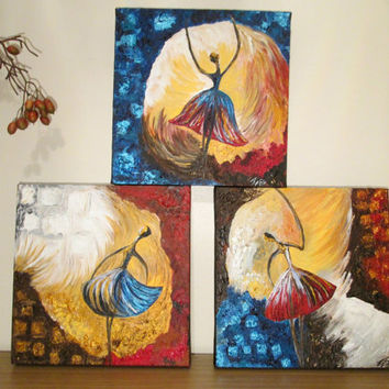 Acrylic,3 panel ,canvas wall art, abstract ,ballerina ,multi colour,textured, paintings ,on canvas impasto 30cmx30cm