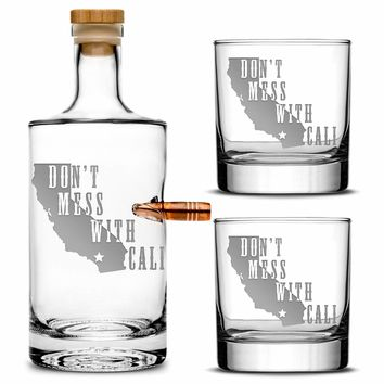 Premium .50 Cal BMG Bullet Bottle Gift Set, Jersey Whiskey Decanter, Don't Mess With Cali, 750mL