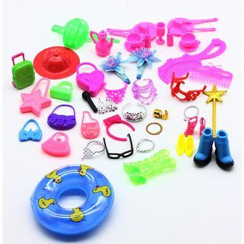 50pcs Fashion Jewelry Necklace Earring Swimming laps Bowknot Crown Accessory For Barbie Dolls Kids Gift