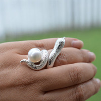 Silver Snake Ring - Large 925 Sterling Silver Fresh Water Pearl Snake Ring - Snake, Cobra Sterling Silver Ring with White Pearl