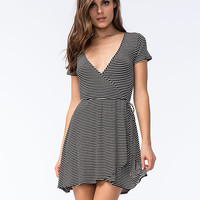 Full Tilt Striped Wrap Dress Black/White  In Sizes