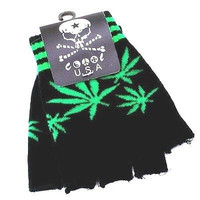 GREEN MARIJUANA MJ WEED LEAVES BLACK KNIT FINGERLESS GLOVES WINTER WOMENS MEN