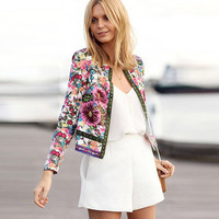 Scoop Zipper Flower Print Slim Short Coat