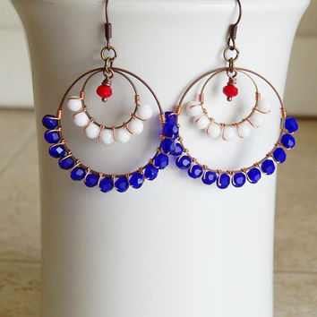 Beaded Hoop earrings red white and blue gypsy chandelier earrings patriotic jewelry USA  American pride Fourth of July earrings