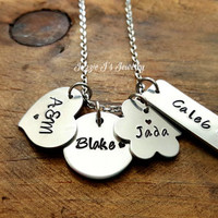 Hand Stamped Family Necklace, Personalized Jumble Necklace, Different Shapes Jewelry, Gift For Her, Bundle of Charms Necklace