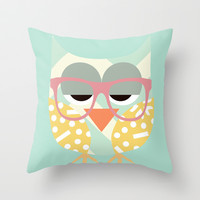 Geometric Nerd Owl Throw Pillow by Claudia Schoen