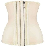 Daisy Corsets Smooth Zipper Latex Steel Boned Waist Training Corset Nude