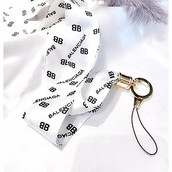 LV Balenciaga Supreme Popular Personality Long Paragraph Wide Universal Silk Ribbon iPhone Mobile Phone Hanging Rope Key Chain Multicolor White I13135-1