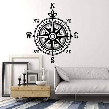 Vinyl Wall Decal Compass Nautical Wind Rose Geography Travel Stickers Unique Gift (1520ig)