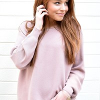 Sitting By The Fire Sweater In Mauve