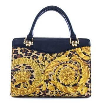 Authentic Gianni Versace leopard 2 way hand shoulder bag