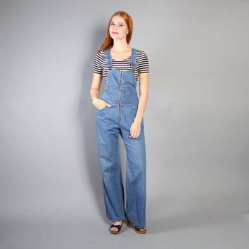 70s LEVI'S DENIM OVERALLS / Bell Bottom Jumpsuit, xs-s