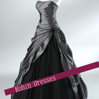New Custom-made Strapless Sweetheart Long Gray Prom Dresses Ball Gowns Evening Dresses with Lace UP Back