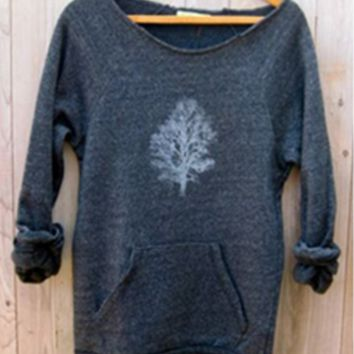 Tree Print Long Sleeve Sweater With Pocket