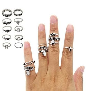 Vintage Retro Silver Plated Knuckle Nail Ring 10PCS Finger Tip Stacking Rings