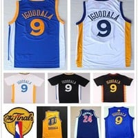 2017 Finals 9 Andre Iguodala Jersey Home Blue White Yellow Black 24 Andre Iguodala College Basketball Jerseys Sports Shirt With Patch