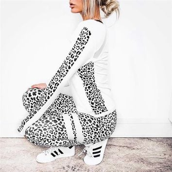 2018 Women Fitness Legging Set Hot Sale Spring Winter New Pattern Suit Women Set For Work Out Print Leopard Sexy Elstic Leggings