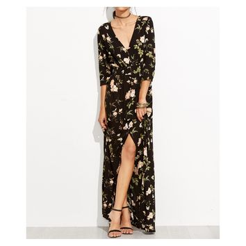 Black V Neck Button Down Floral 3/4 Sleeve Maxi Dress