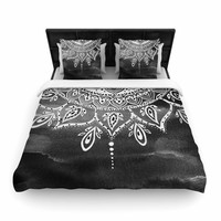 "Li Zamperini ""Black & White Mandala"" Gray Abstract Woven Duvet Cover"