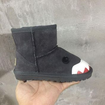 LFMON UGG Shark Children's Shoes  Kids Little Monsters Series Women Men Fashion Casual Wool Winter Snow Boots Black