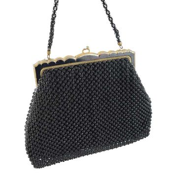 40s/50s Whiting and Davis Black Bubble Bead Mesh Evening Bag