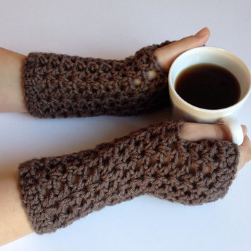 Crochet fingerless gloves, wrist warmers, texting gloves, driving gloves in taupe