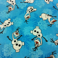 Frozen Snowman Snowflakes Cotton Fabric- Turquoise/Sewing Craft Supplies/Home Decor/ Quilting/Kids Cotton Prints
