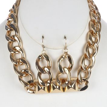 Hollow  Spike Chunky Bib Link Curb Chain  Necklace Earring Set