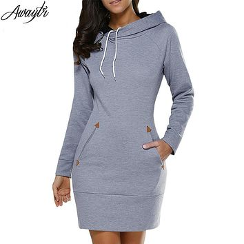 Womens Casual Sweatshirt Dress Ladies Long Sleeve Hoodie Hooded Sweater Pullover Jumper Dress