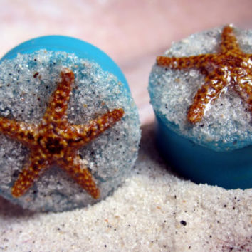 "Pair of Real Starfish on Hand-Molded Clay Plugs with Real Beach Sand - Handmade Girly Gauges - Size 3/4"", 7/8"", 1"""