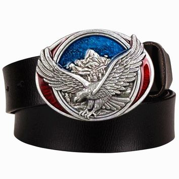 Fashion men's Genuine leather belt metal buckle American flag belts retro fly eagle western style belt hip hop Street Dance belt