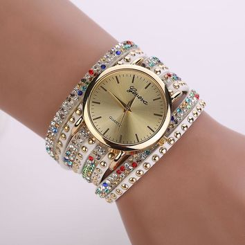 Riveted Crystal  Braided Winding Wrap Quartz Wrist  Watch Comes in black and multi Color