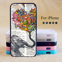 Elephant,Flower,iPhone 5 case,iPhone 5C Case,iPhone 5S Case, Phone case,iPhone 4 Case, iPhone 4S Case,Case