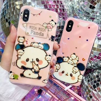 Lovely Cartoon 3D Diamond Blue Ray Minions Doraemon Case for iPhone X Glitter Bling Mochi Panda Case for iPhone 8 7 6s 6 Plus