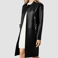 Womens Langer Leather Coat (Black) | ALLSAINTS.com