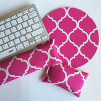 hot pink trellis mouse pad, mousepad keyboard rest, and mouse wrist rest set -   coworker desk cubical office accessories