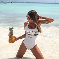 GUCCI Sexy Women Stylish Vest Style U Collar High Waist Letter Print One Piece Bikini Swimsuit Swimwear Bathing(5-Color) Black