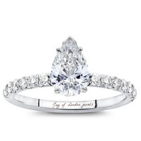 A Perfect 2.2CT Pear Cut Solitaire Russian Lab Diamond Engagement Ring
